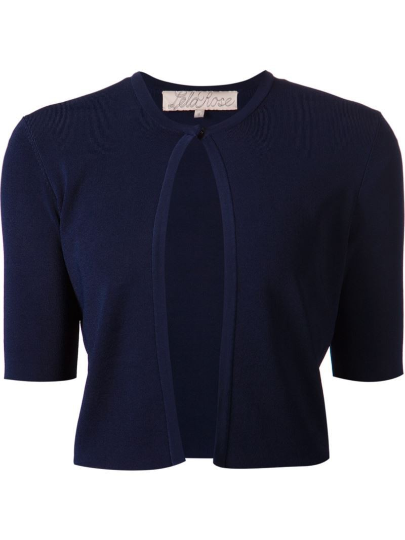 Lela Rose Cropped Cardigan - Navy - Wheretoget