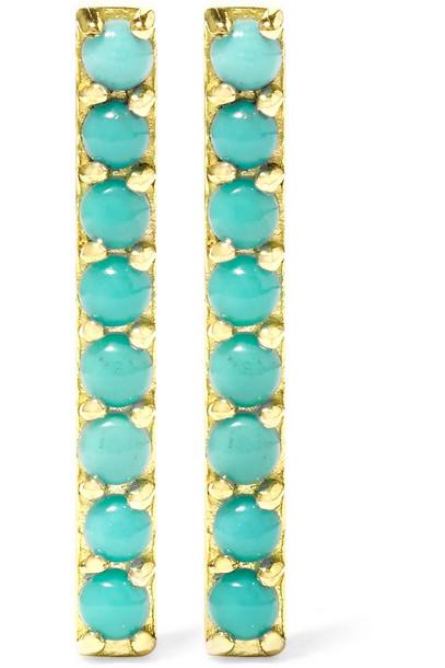 JENNIFER MEYER earrings gold turquoise jewels