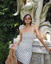 dress,polka dots dress,short dress,sunglasses