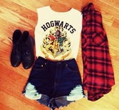 tank top,hogwarts,shirt,shoes,jacket,t-shirt,harry potter,me