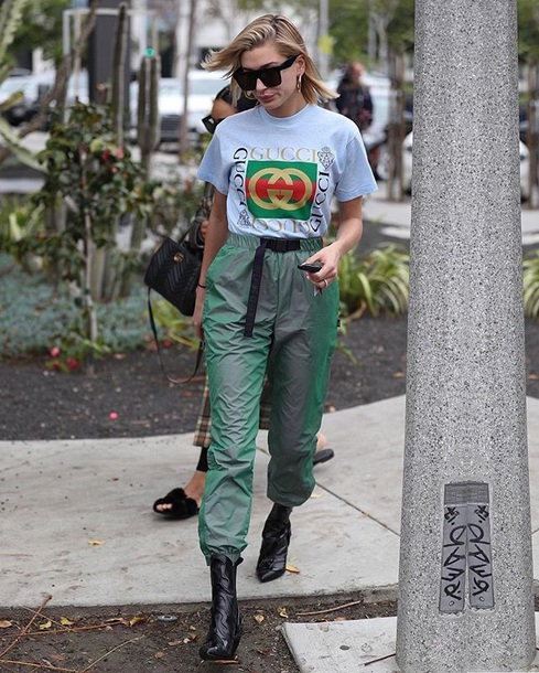 t-shirt logo tee gucci sunglasses pants green pants boots