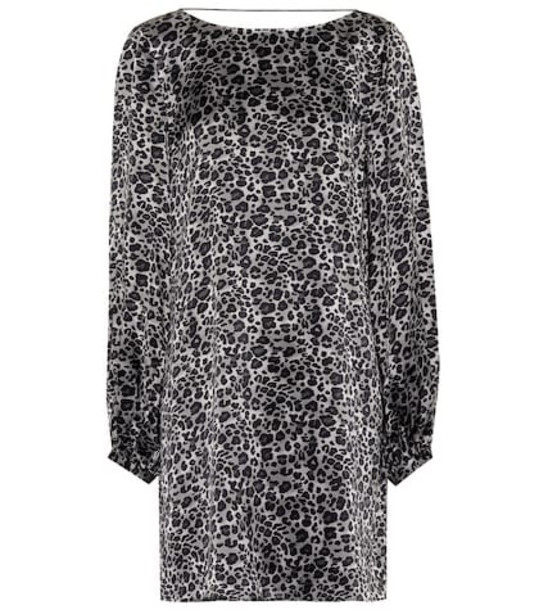 Equipment Leopard silk tunic dress in grey