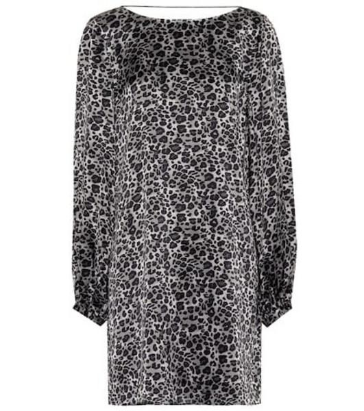 Equipment Leopard silk tunic dress in grey