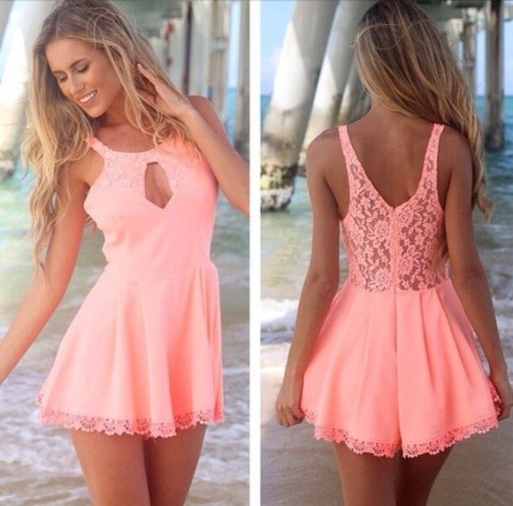 dress lace pink cut-out cute pink dress coral dress coral peach dress summer dress summer spring cute dress