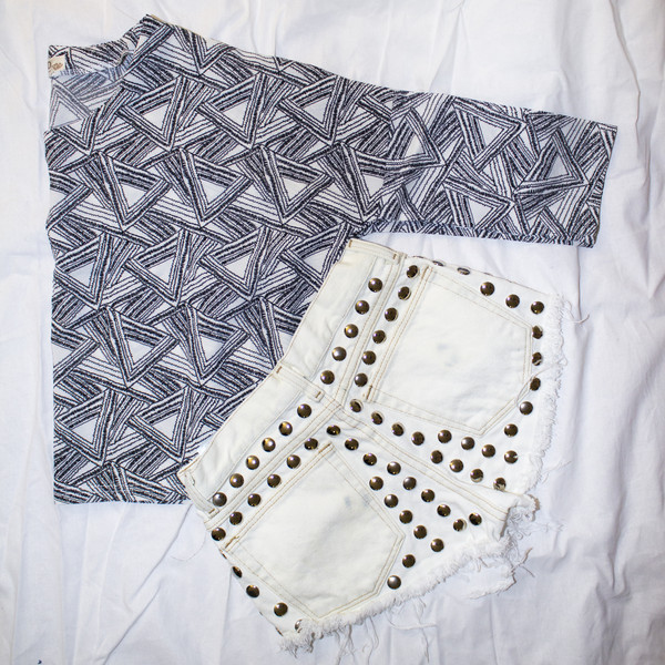 shirt geometric studded shorts cut offs shorts
