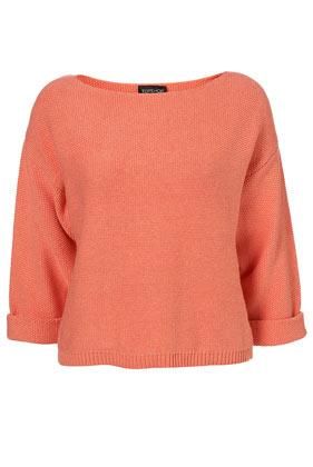 Coral knitted stitch yoke jumper