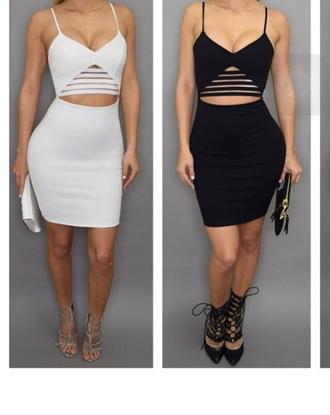 dress black white mesh dress tight tight dress