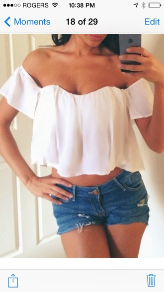 shirt off the shoulder white cropped top boho crop tops white top cropped top high waisted skirt