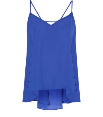 Blue Strap Back Drape Cami