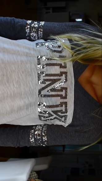 vs gray bling victorias secret top pink by victorias secret victoria's secret angel t-shirt victorias secret top shimmery