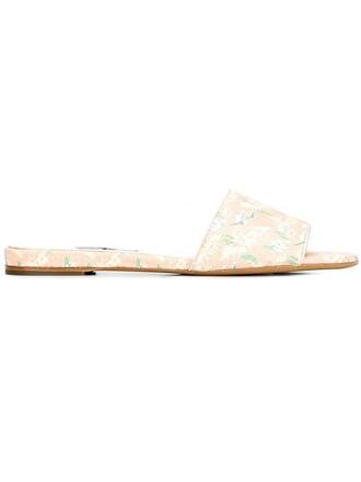 paris women sandals flat sandals leather purple pink shoes