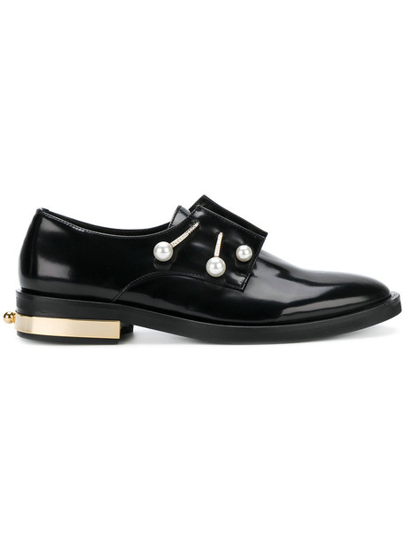 Coliac women pearl loafers leather black shoes