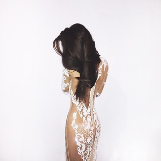 dress nude lace dress lace nude dress prom dress cream high heels cream dress