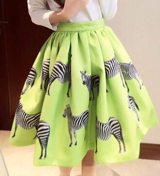 skirt zebra midi skirt pleated skirt bottoms clothes cute beautiful fashion girly outfit sammydress green