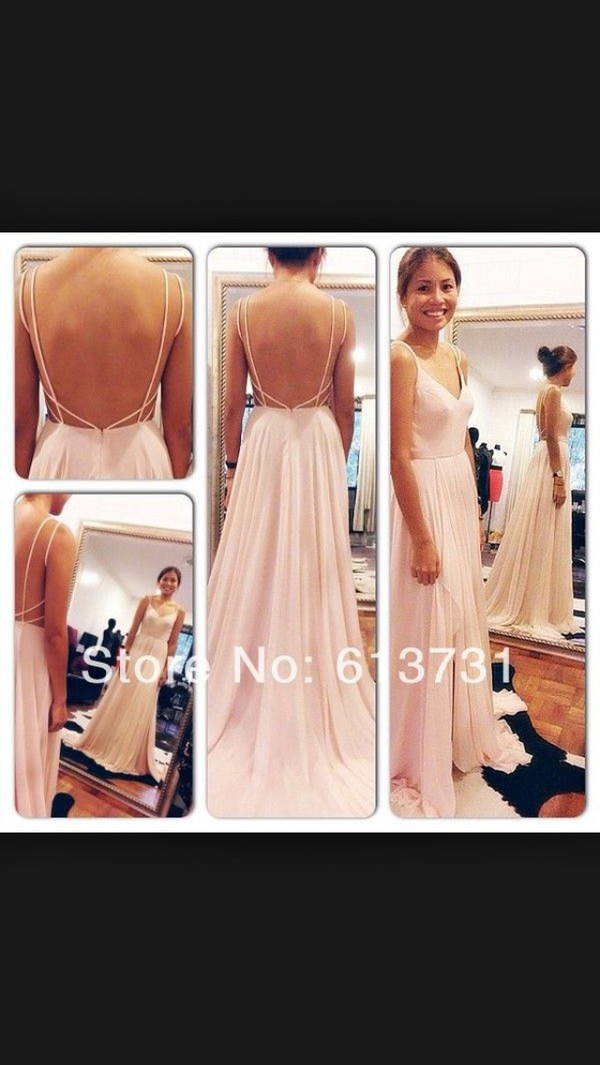 Buy Sexy Backless Maxi Dress Spaghetti Straps V Neck Pink Open Back