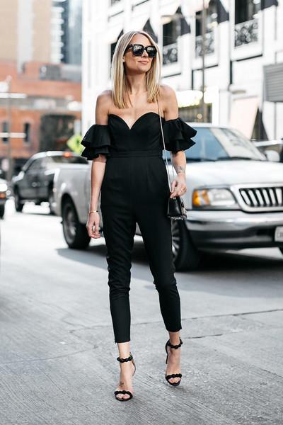fashionjackson blogger jumpsuit shoes bag sunglasses off the shoulder black jumpsuit sandals high heel sandals shoulder bag