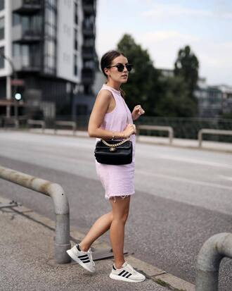 dress tumblr mini dress pink dress halter neck halter neck dress sneakers bag black bag shoes sunglasses