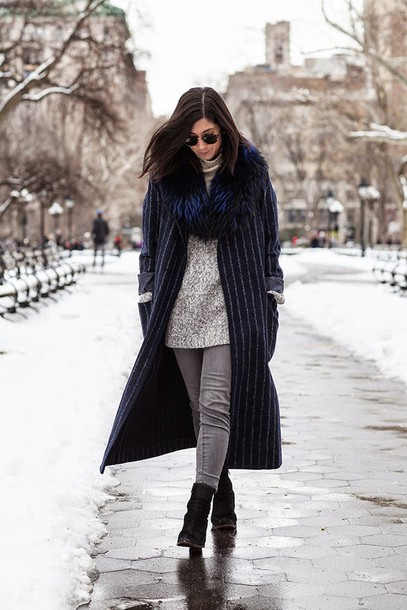 this time tomorrow blogger grey jeans long coat stripes fur scarf grey sweater
