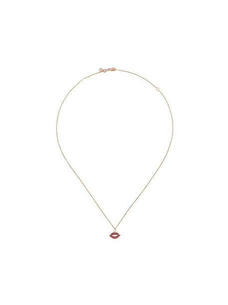 sydney evan rose gold rose women lips necklace gold grey metallic jewels