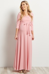 dress,maternity dress,light pink dress,wrap dress,maxi dress,modest dress