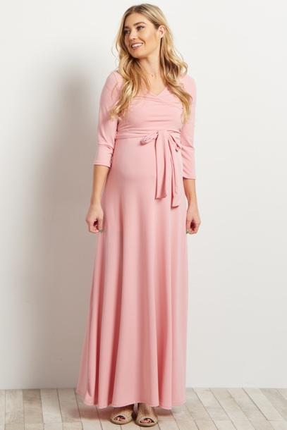 5372b60ae9808 dress maternity dress light pink dress wrap dress maxi dress modest dress