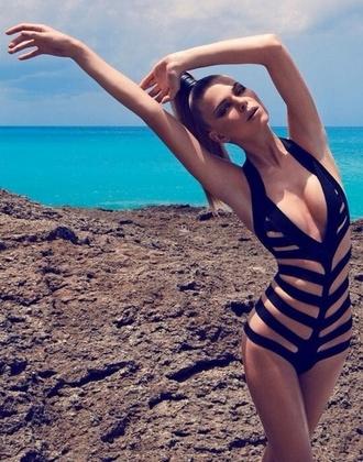 swimwear black strappy monokini