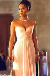 dress,peach dress,long sleeveless dress,jennifer lopez,jewelry,pink,off the shoulder,statement necklace,blush pink,sexy dress