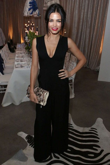 jumpsuit black jenna dewan v-neck