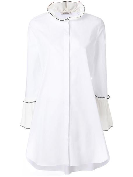 Dorothee Schumacher - long fitted shirt - women - Silk/Cotton/Spandex/Elastane - 3, White, Silk/Cotton/Spandex/Elastane