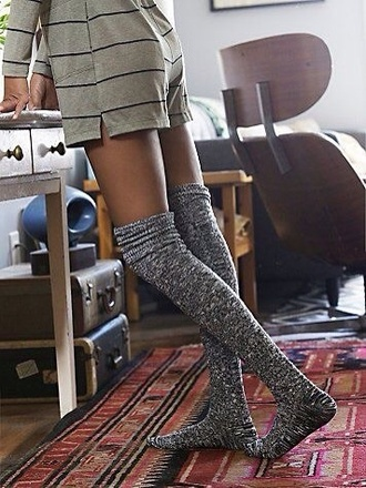 socks gray sock gray socks thigh socks black socks knee high socks long black socks cozy hipster romper striped romper long sleeve romper sleep romper green long sleeve romper