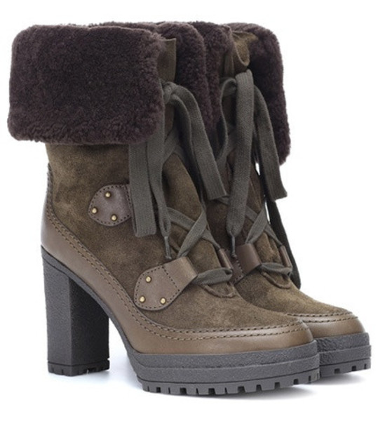 See By Chloé Claudia suede ankle boots in green