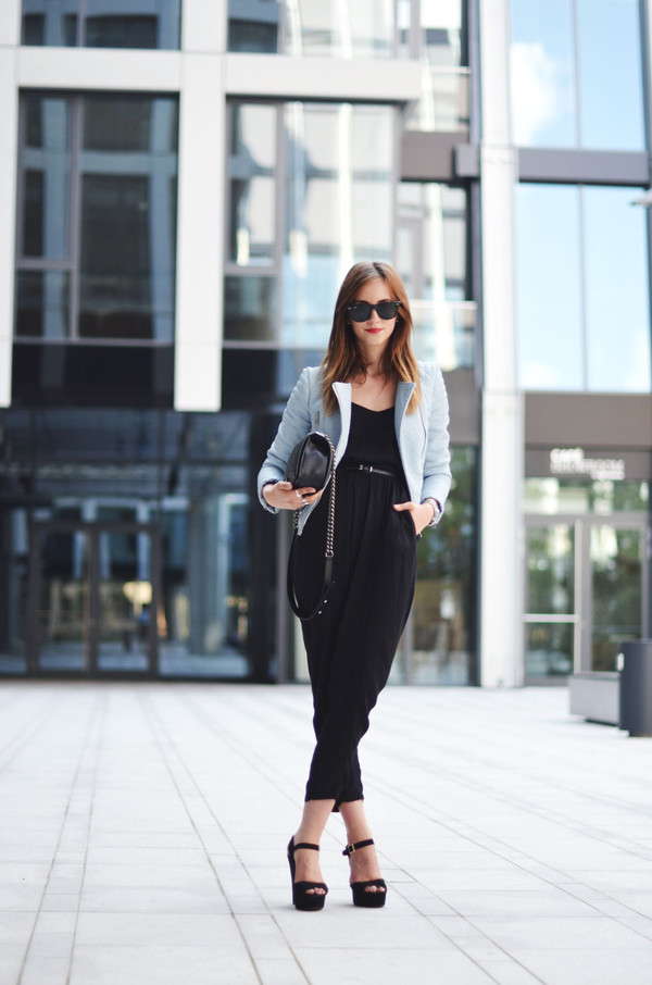 vogue haus blogger jumpsuit jacket shoes bag jewels sunglasses