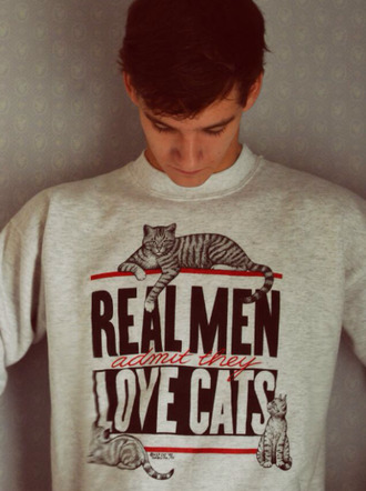 sweater clothes menswear cats mens sweater quote on it funny