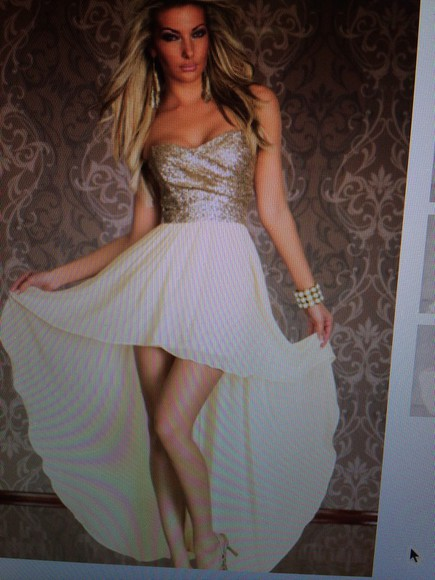 dress party gold highlow prom homecoming