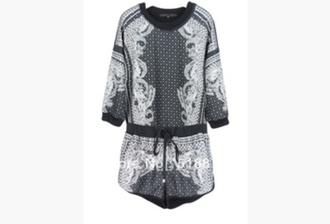 jumpsuit black and white jumpsuits bandana print