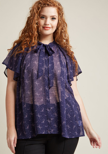 Mct1382a shirt blouse chiffon sheer navy blue pattern lavender top
