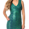 Woodgrain foil print v neck midi bandage dress green