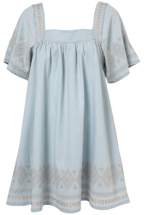 Pale denim embroidered dress