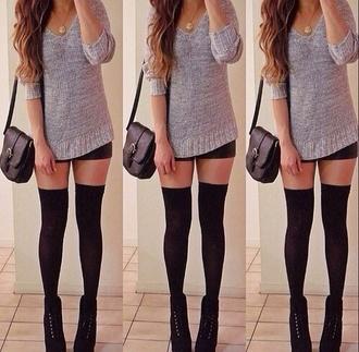 sweater grey sweater black bag black heels knee high socks necklace