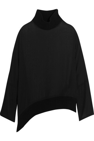 blouse black silk top