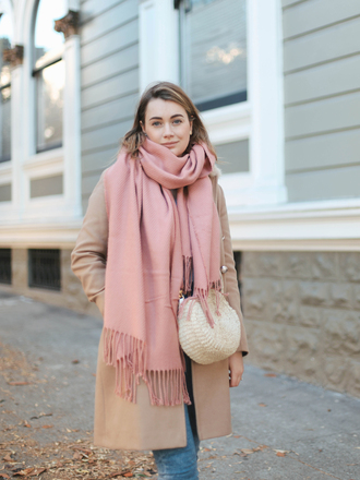 scarf pink scarf tumblr coat camel camel coat bag round bag