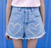 shorts,short,denim,cute,kawaii,ulzzang,gyaru,korean fashion,japan,japanese,heart,kpop,love,embroidered