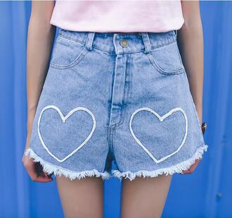 shorts short denim cute kawaii ulzzang gyaru korean fashion japan japanese heart kpop love embroidered