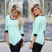 top,mint striped top,striped mint top,asymmetrical top,3-4 sleeve top,cute top,top with buttons,savedbythedress