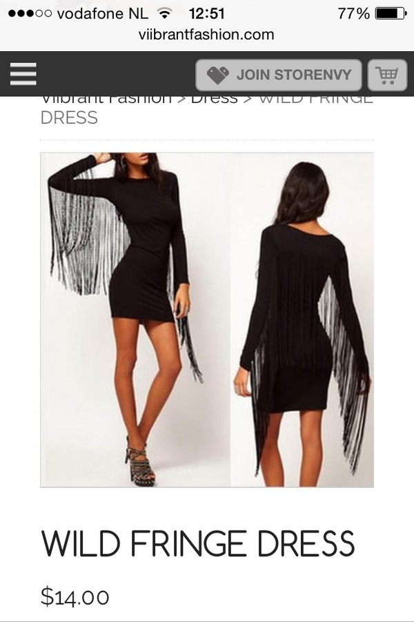 dress fringed dress little black dress