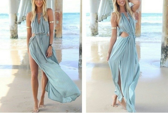 maxi dress cut-out dress blue dress