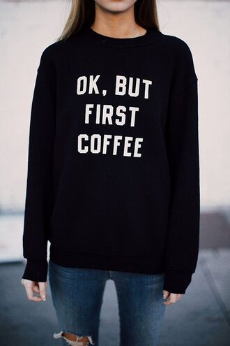 shirt sweater crewneck coffee white black