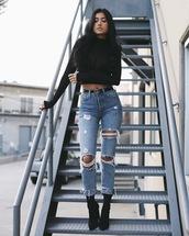 jeans,tumblr,blue jeans,denim,cropped jeans,ripped jeans,boots,sock boots,black boots,high heels boots,top,black top,black crop top,crop tops,long sleeve crop top,belt,logo belt,gucci belt