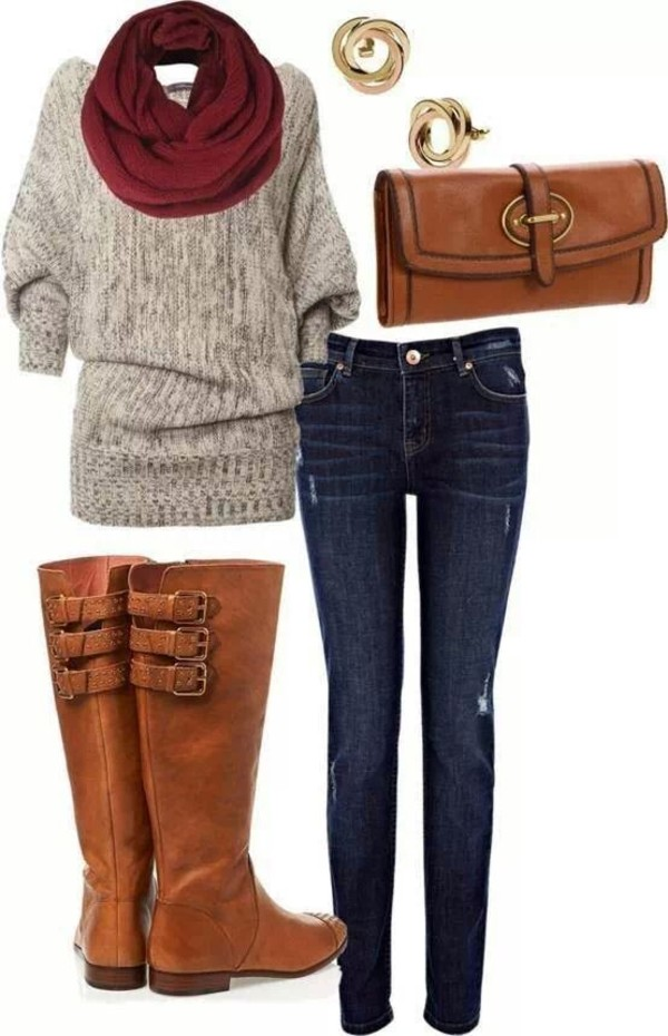 sweater shoes jeans brown leather boots brown leather bag blouse shirt
