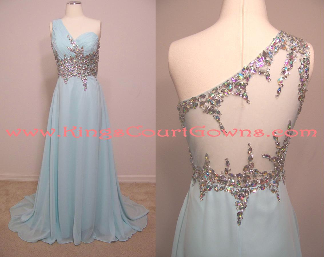 Replica Sheer Back Blue Beaded Chiffon Prom Bridesmaid Evening Dress Gown